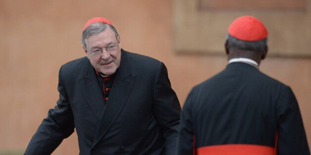 VATICAN CITY, VATICAN - MARCH 11:  Cardinal George Pell (L) and Cardinal Francis Arinze arrive for the final congregation bef