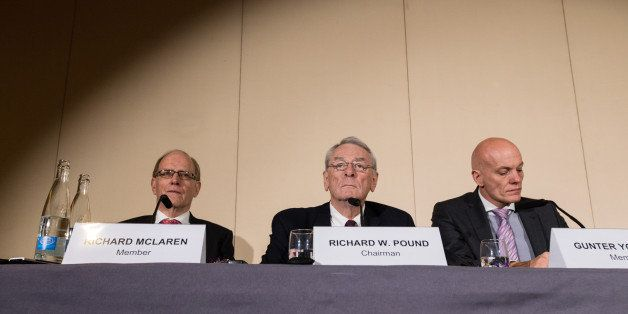GENEVA, Nov. 10, 2015-- Richard Pound, center,  president of World Anti-Doping Agency Independent Commission, members of Inde