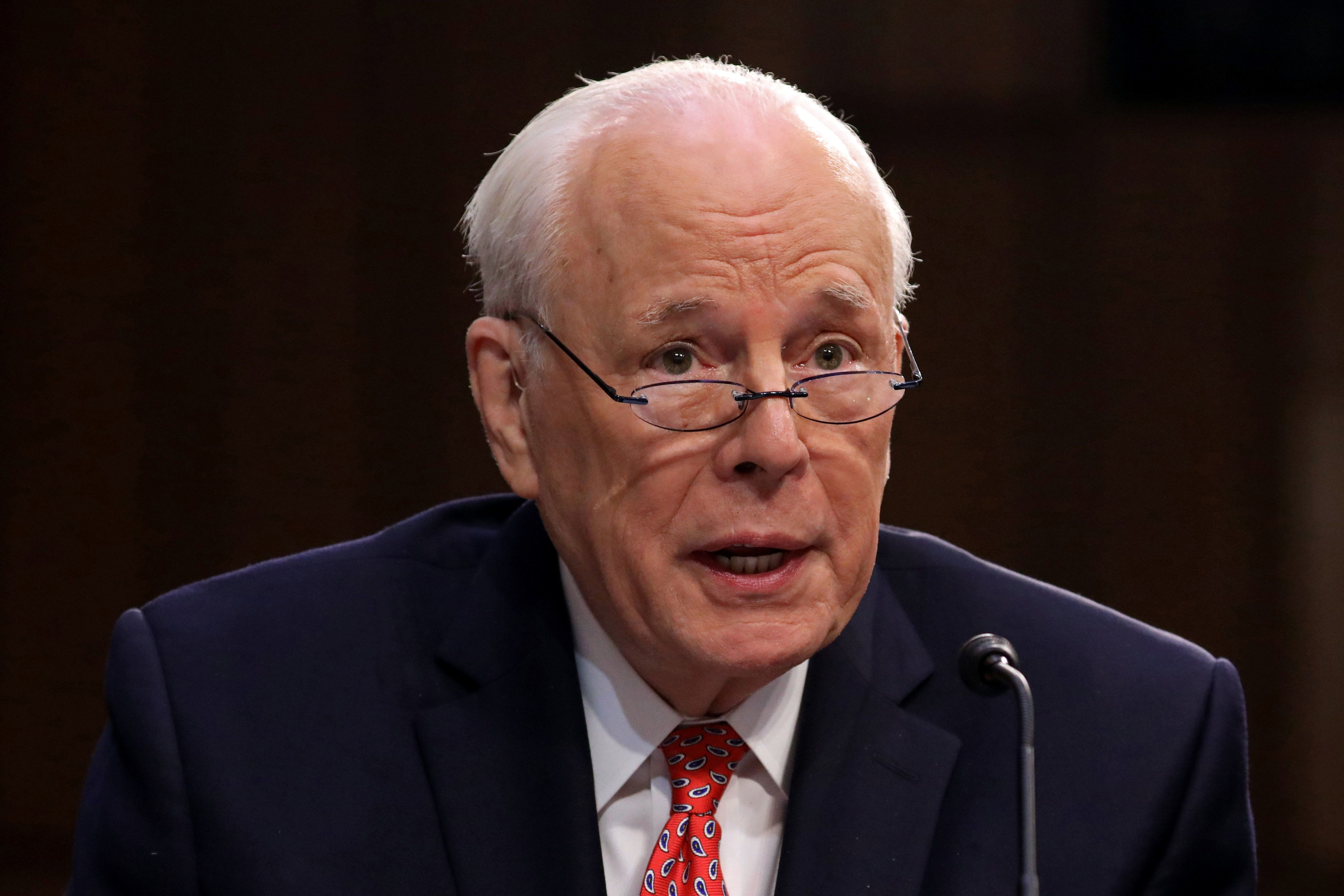 John Dean, former Nixon White House counsel, testifies on the fourth day of Senate Judiciary Committee confirmation hearings for U.S. Supreme Court nominee Judge Brett Kavanaugh on Capitol Hill in Washington, U.S., September 7, 2018. REUTERS/Chris Wattie