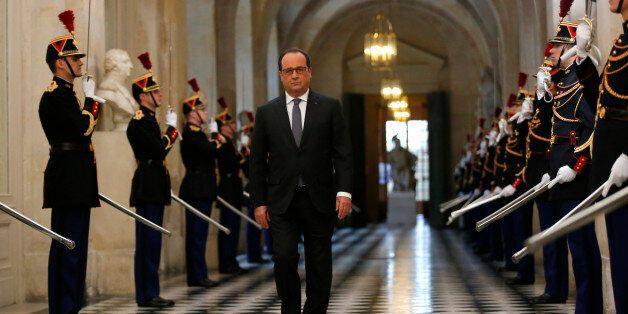 French President Francois Hollande arrives to deliver a speech at the Versailles castle, west of Paris, Monday, Nov.16, 2015.