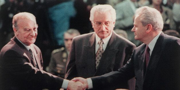 (FILES) This file picture taken 01 November 1995 during the start of the Proximity Peace Talks at Wright Patterson Air Force