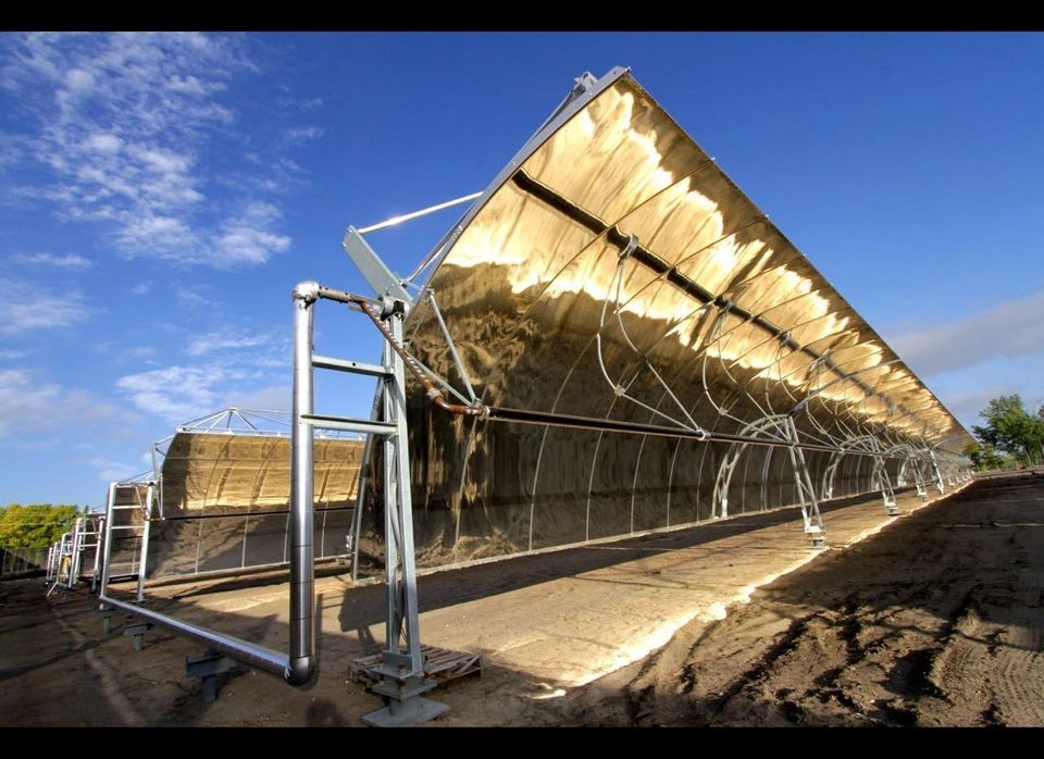 This concentrated solar thermal plant will supply superheated fluid to the city's natural gas fired power plant, enough to ge
