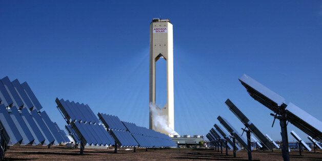 SPAIN - APRIL 28:  Over 600 solar troughs, which act like giant mirrors, redirect the sun's rays to a central tower which hea