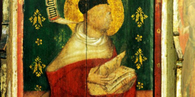 Castle Acre medieval pulpit painting, St. Augustine of Hippo, 15th century, one of the Four Doctors of the Latin Church