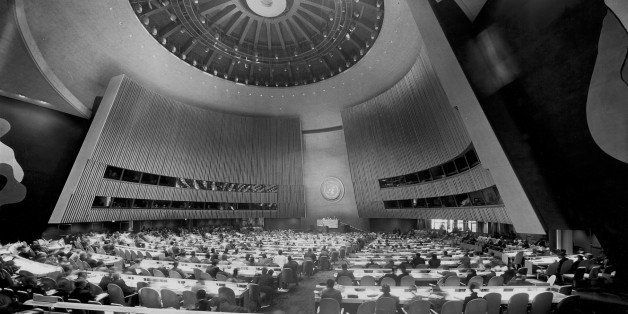 Interior of a conference hall, United Nations Building, New York City, New York State, USA