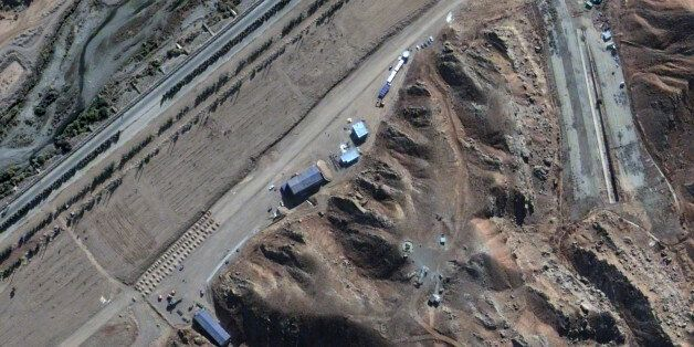 PARCHIN, IRAN - NOVEMBER 7, 2012:  This is a satellite image of suspect activity at the explosives testing chamber in the Par