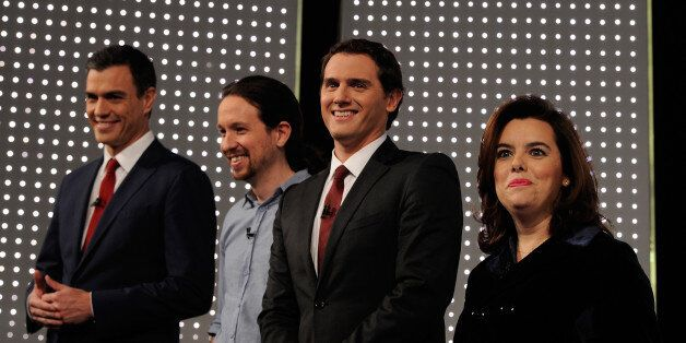 MADRID, SPAIN - DECEMBER 07:  From L to R party leaders Pedro Sanchez of the PSOE socialist party, Pablo Iglesias of Podemos,