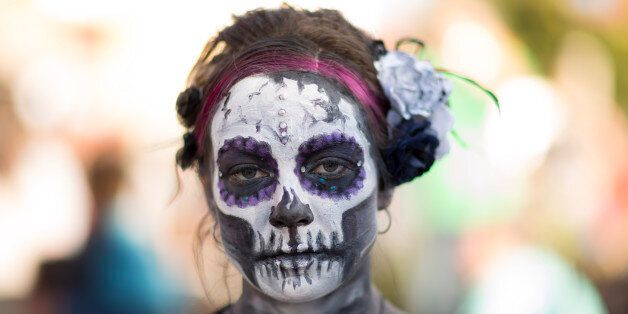 OKLAHOMA CITY, OK - NOVEMBER 1: Tracy Stevens poses for photos during the Dia de los Muertos (Day of the Dead) celebration, N