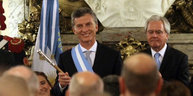 BUENOS AIRES, ARGENTINA - DECEMBER 10:  President of Argentina Mauricio Macri gestures after receiving the presidential sash