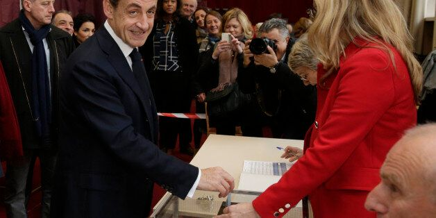 """Nicolas Sarkozy, former French President and current head of the conservative """"Les Republicains"""" party, casts his ballot in t"""