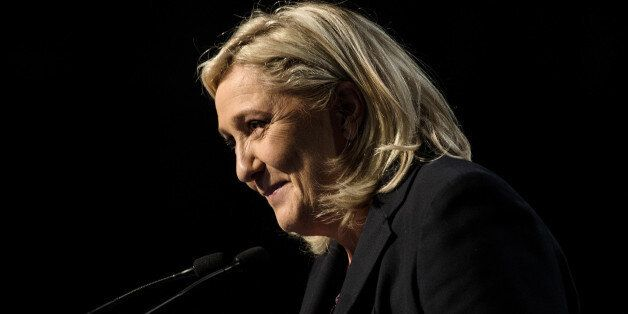 French far-right National Front (FN) leader Marine Le Pen delivers a speech following the announcement of results in the seco