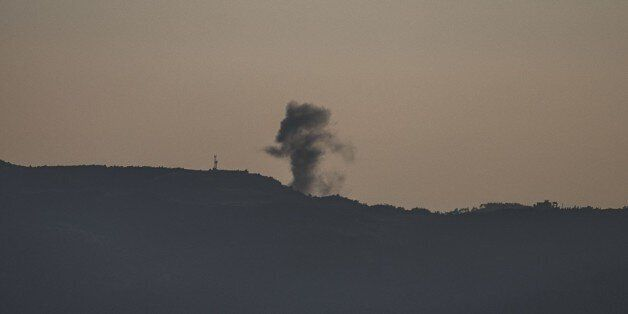 HATAY, TURKEY - DECEMBER 07: Photo taken from Turkey's Hatay province shows that smoke rises after the troops belonging to th