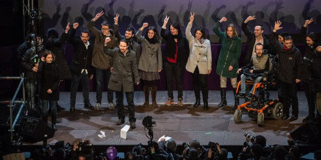 BARCELONA, SPAIN - DECEMBER 21:  Podemos (We Can) leaders acknowledge their supporters on December 21, 2015 in Madrid, Spain.