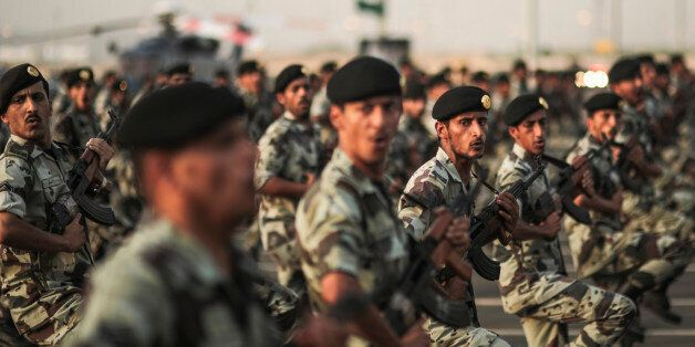 FILE - In this Thursday, Sept. 17, 2015 file photo, Saudi security forces take part in a military parade in preparation for t