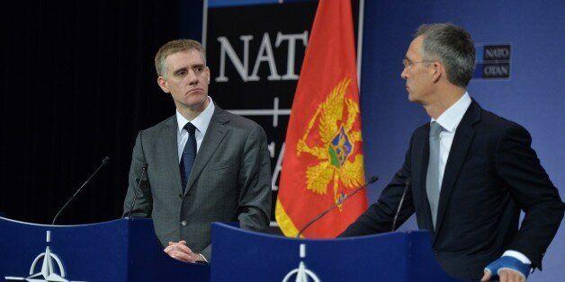 BRUSSELS, BELGIUM - DECEMBER 02: NATO Secretary General Jens Stoltenberg (R) and Montenegro's Deputy Prime Minister and Minis