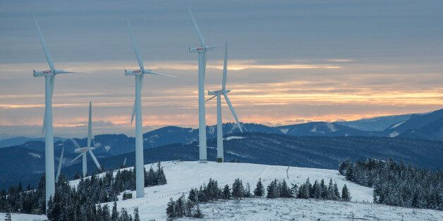 Wind turbines stand at the Steinriegel wind farm, operated by Wien Energie GmbH, in Steiermark, in the Styrian Alps, Austria,