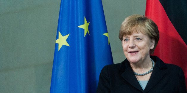 BERLIN, GERMANY - FEBRUARY 01: German Chancellor Angela Merkel after a press conference with the President of Ukraine Petro P