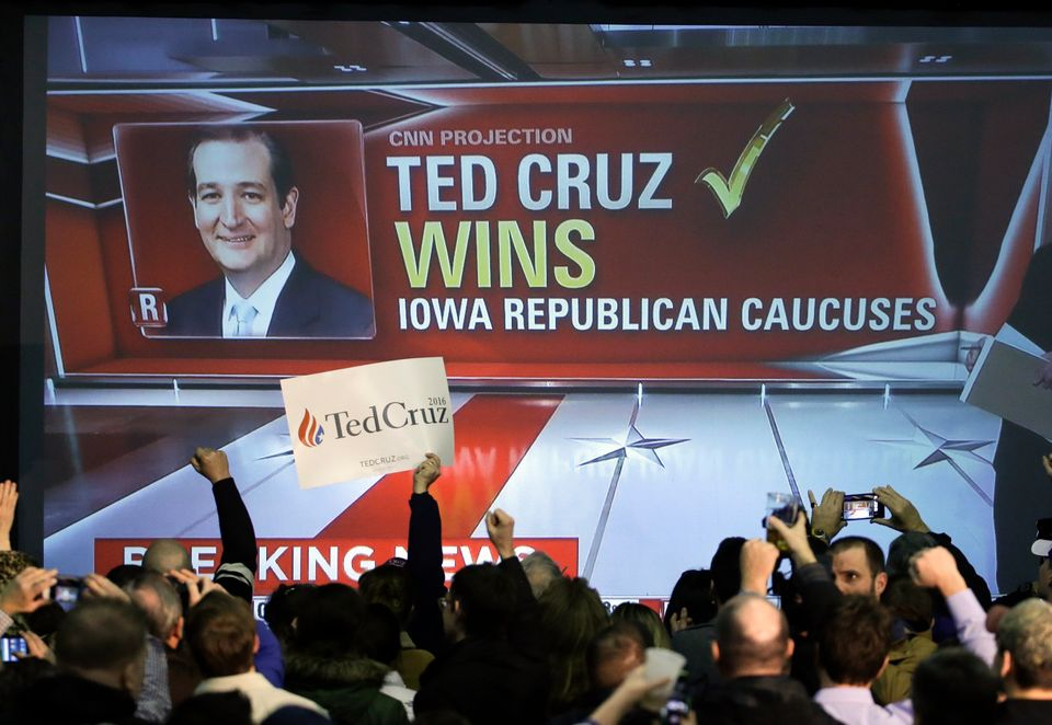 Supporters cheer as caucus returns are reported at Republican presidential candidate, Sen. Ted Cruz, R-Texas, caucus night ra