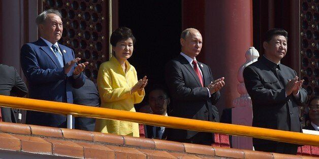 Kazakhstan President Nursultan Nazarbayev (L), South Korea's President Park Geun-hye (2nd L), Russia's President Vladimir Put