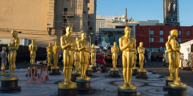 Oscar statuettes are seen as workers make preparations for the 88th Annual Academy Awards at Hollywood & Highland Center, Hol