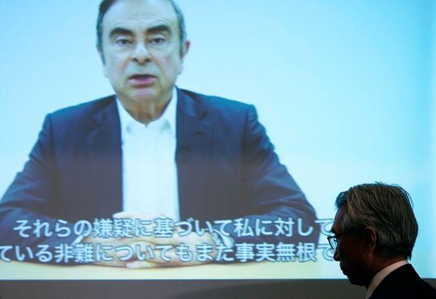 4月9日に行われた、記者会見で公開されたカルロス・ゴーン容疑者の映像