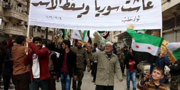 ALEPPO, SYRIA - MARCH 4: Syrian opponents gathered at the Tarik al-Bab neighborhood stage a protest against the Assad regime