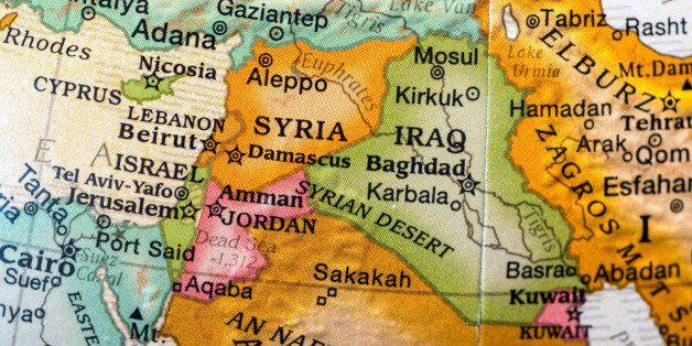 small desktop world globe showing Syria,Israel,lebanon,jordan, and vicinities