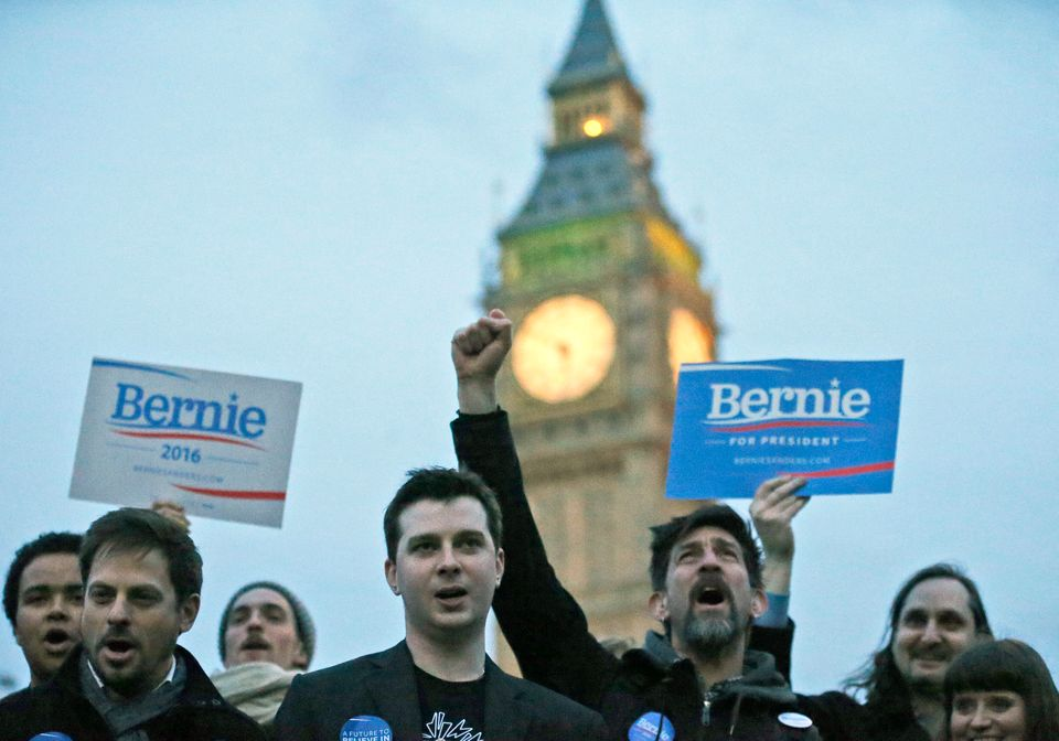 Supporters of democratic candidate Bernie Sanders gather in London, Tuesday, March 1, 2016 as voting begins in the U.S. Democ