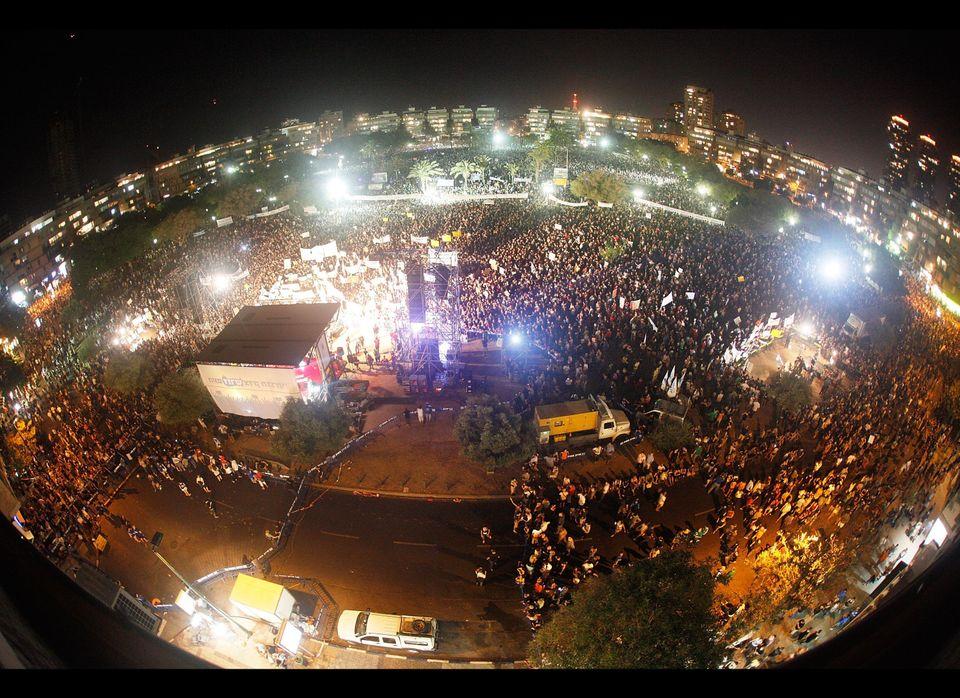 Demonstrators pack the streets on September 3, 2011, in Tel Aviv, Israel. An estimated 400,000 Israelis protested across the