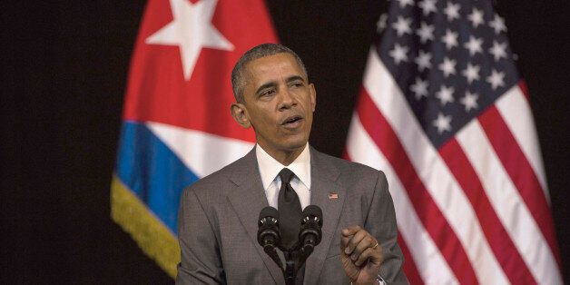 U.S. President Barack Obama delivers his speech at the Grand Theater of Havana, Tuesday, March 22, 2016. Obama who is in Cuba
