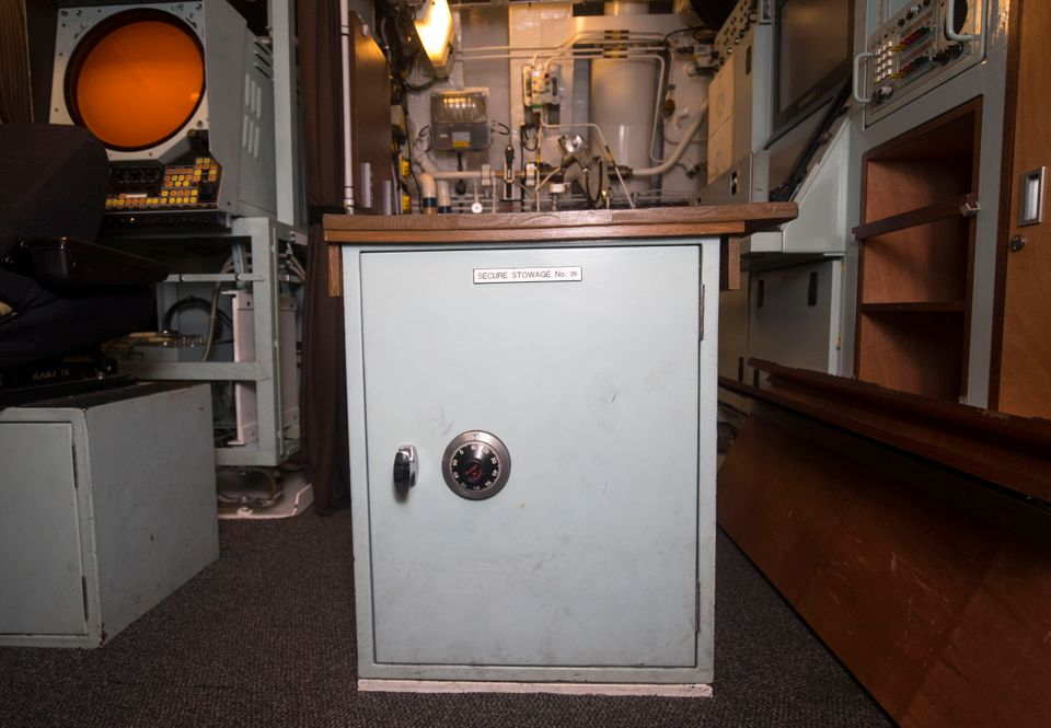 A safe that contains the Prime Minister's last resort instructions, on board Vanguard-class submarine HMS Vigilant, one of th