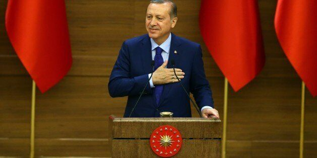 ANKARA, TURKEY - APRIL 6:  Turkish President Recep Tayyip Erdogan addresses neighborhood leaders (mukhtars) during the mukhta