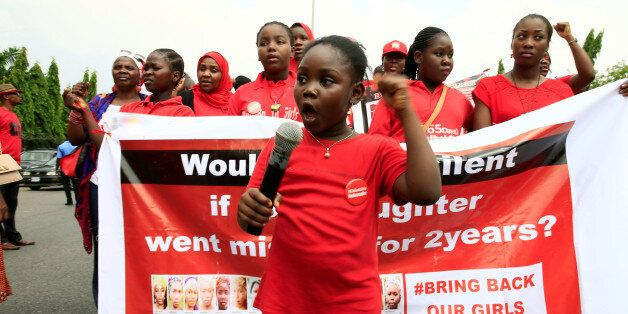 """""""Bring Back Our Girls"""" campaigner Christabell Ibrahim, 8, speaks during the media conference marking two years from the abduc"""