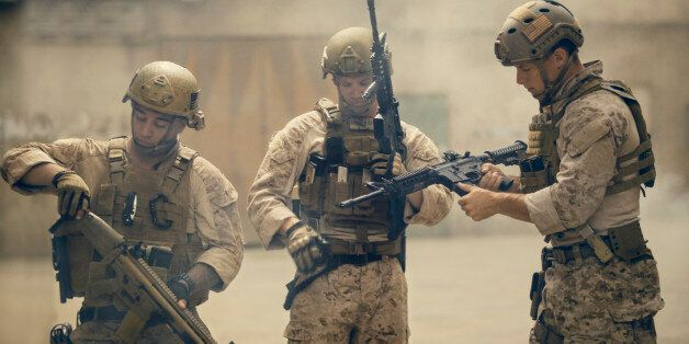 United States Marines prepare for a patrol.