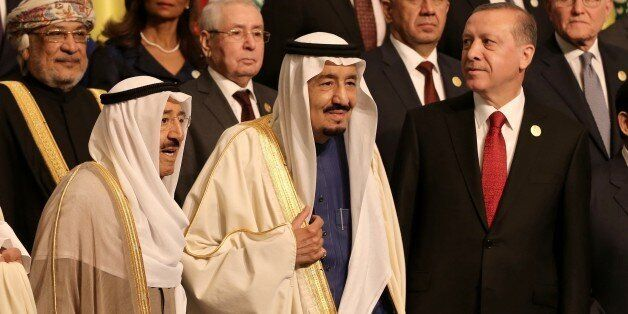 ISTANBUL, TURKEY - APRIL 14: (Front L to R) Emir of Kuwait Sheikh Sabah Al-Ahmad Al-Jaber Al-Sabah, Saudi King Salman bin Abd