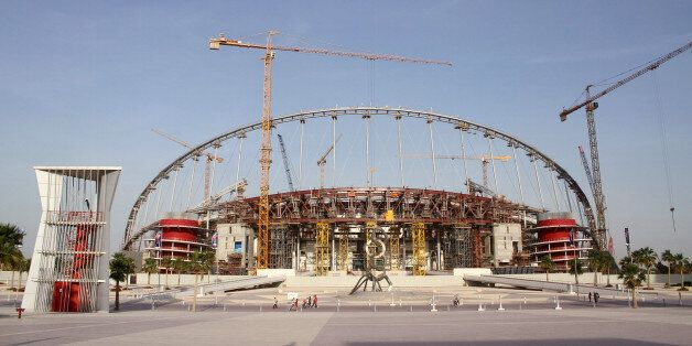 A view of the construction work at the Khalifa International Stadium in Doha, Qatar, March 26, 2016. Workers in Qatar renovat
