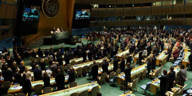 UNITED NATIONS, April 19, 2106 -- Photo taken on April 19, 2016 shows delegates observe a minute of silence during the openin