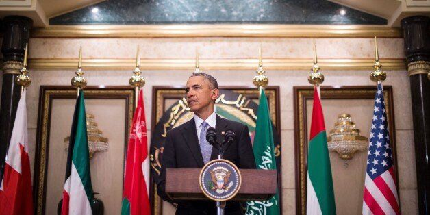 US President Barack Obama delivers a speech following a US-Gulf Cooperation Council Summit in Riyadh, on April 21, 2016. US