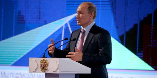 MOSCOW, RUSSIA - DECEMBER,22: (RUSSIA OUT) Russian President Vladimir Putin speaks during the 2015 Russian Internet Economy F