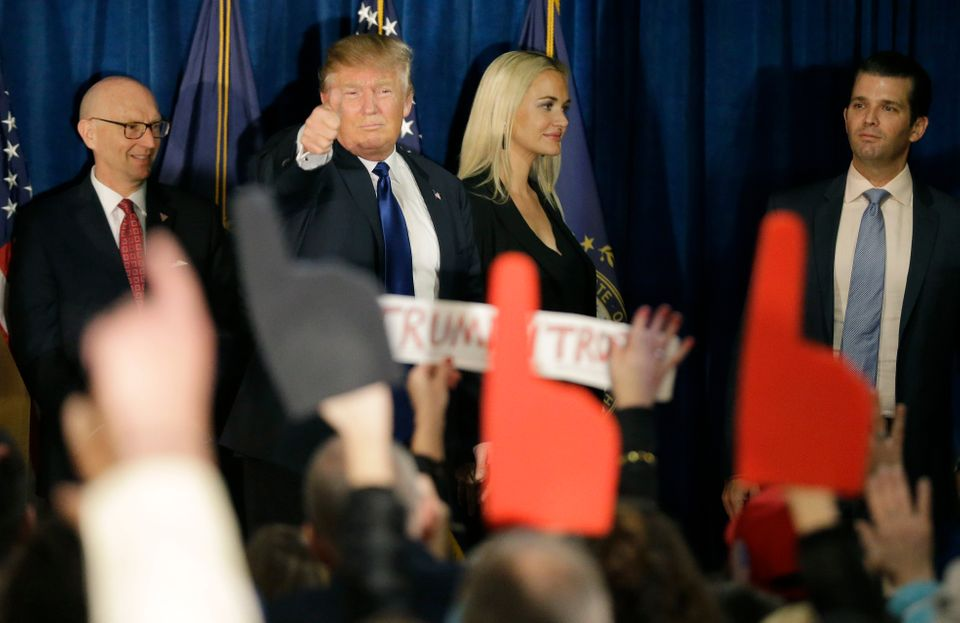 Republican presidential candidate, businessman Donald Trump gives a thumbs up to supporters during a primary night rally, Tue