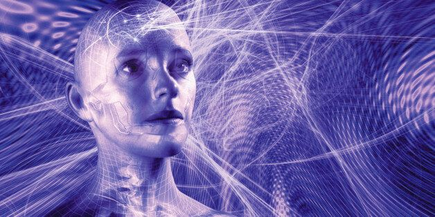 Woman surrounded by network of grids and lines(Digital Composite)