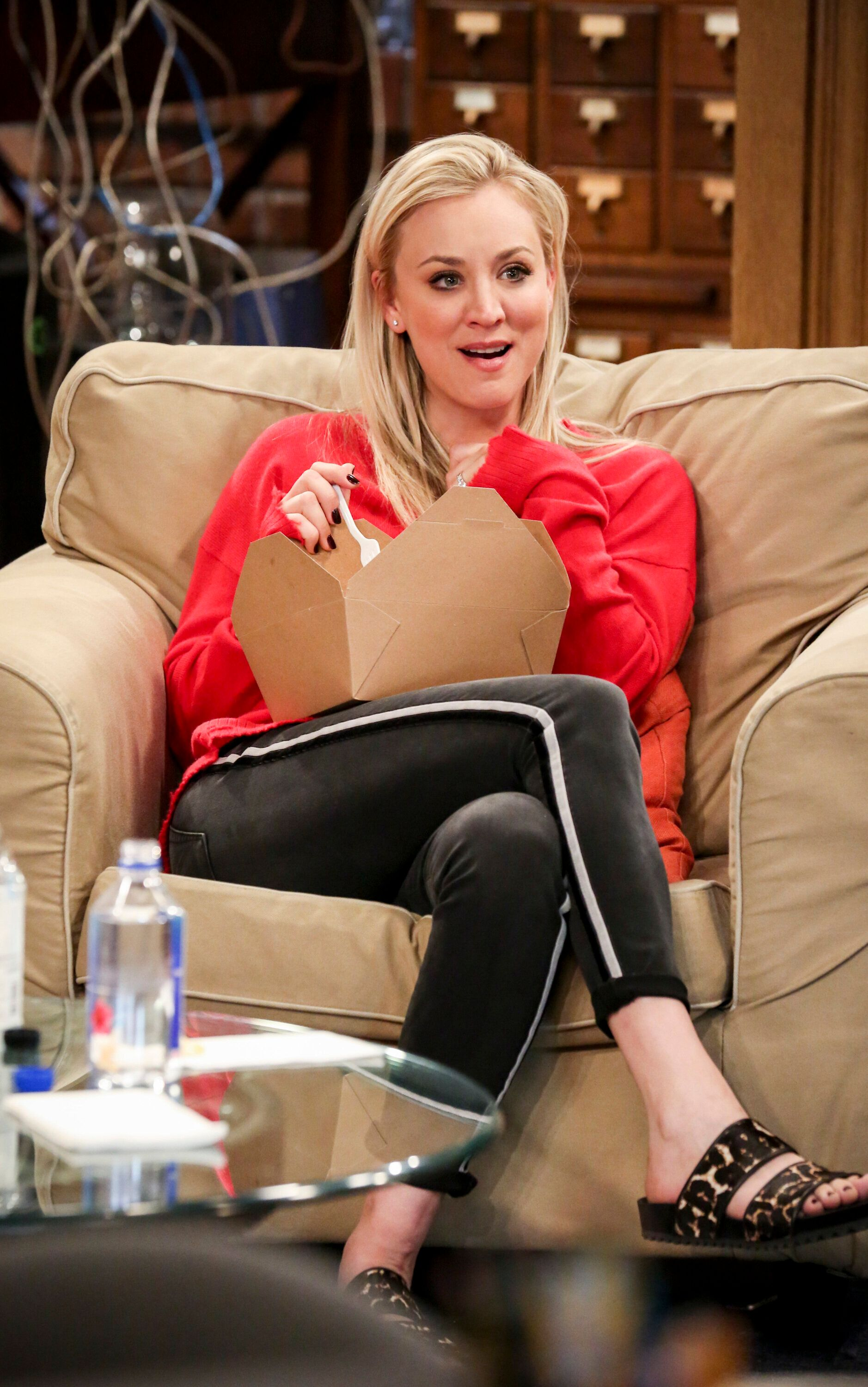 """LOS ANGELES - FEBRUARY 25: """"The Laureate Accumulation"""" -- Pictured: Penny (Kaley Cuoco). When competitors Pemberton (Sean Astin) and Campbell (Kal Penn) charm America on a publicity tour, Sheldon and Amy try to bring Nobel laureates Kip Thorne, George Smoot and Frances Arnold to their side. Also, Halley's fear of the dark leads to opportunity and conflict for Howard, Bernadette and Stuart, on THE BIG BANG THEORY, Thursday, April 4 (8:00-8:31 PM, ET/PT) on the CBS Television Network. (Photo by Michael Yarish/CBS via Getty Images)"""