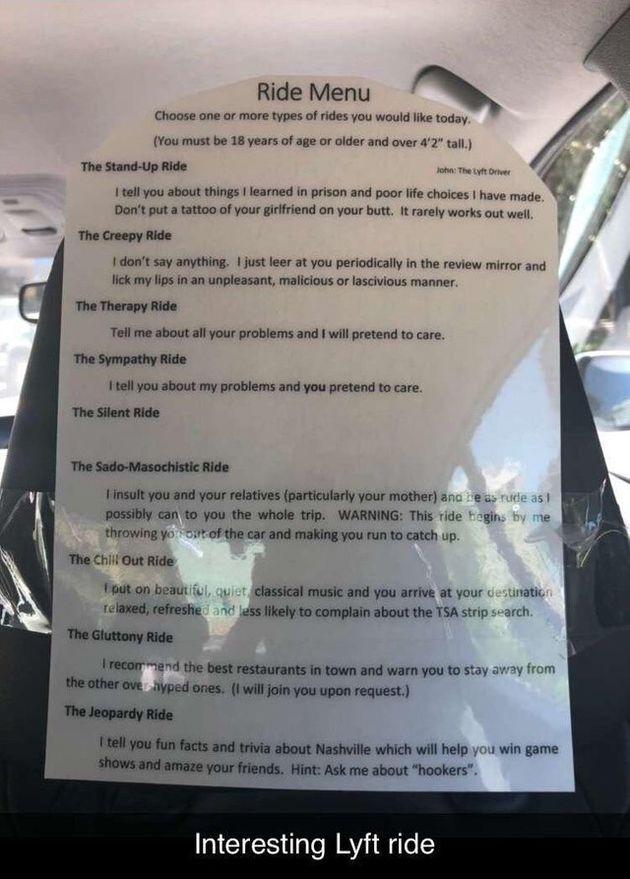 ¿Qué tipo de viaje quieres? La genial iniciativa de un taxista para mejorar la experiencia de sus