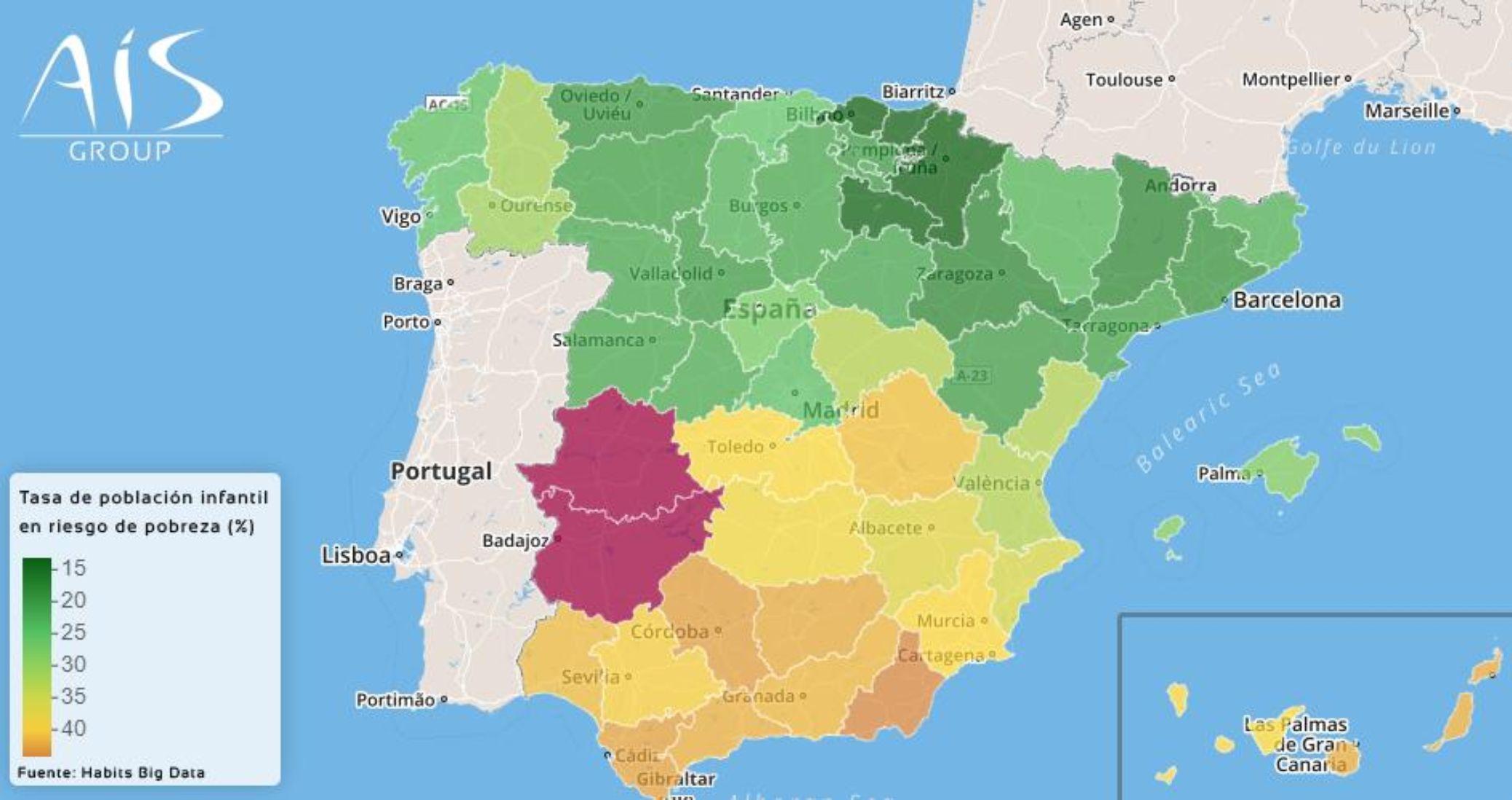 Este es el mapa de la pobreza infantil en
