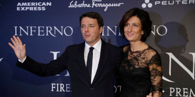 Matteo Renzi alla prima di Inferno di Ron Howard. Per Agnese abito nero tutto pizzo e