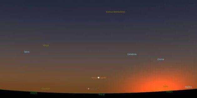 L'abbraccio tra Venere e Giove previsto per il 27 agosto alla luce rossa del