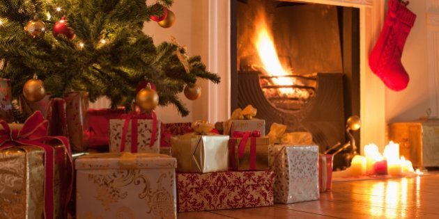 Christmas tree and stocking near