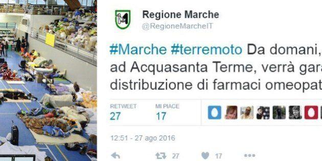 Terremoto, la Regione Marche distribuirà medicinali omeopatici alla popolazione. Polemica sui social:...