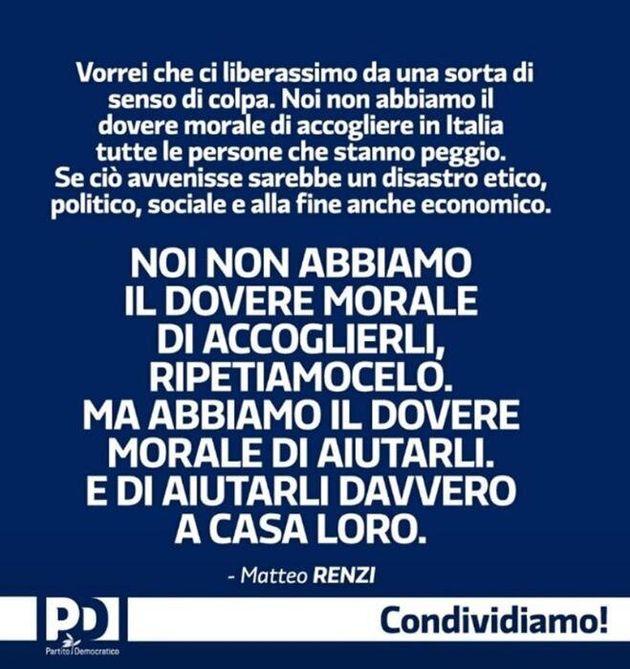 Matteo Renzi torna in un post su facebook sulla proposta del numero chiuso per i migranti, Roma, 7 luglio...