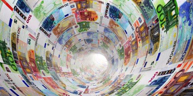 Tunnel of Euro banknotes towards light. The currency, money concepts for way to success, profit, banking